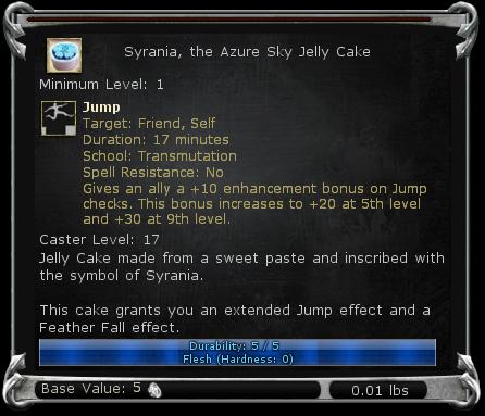 Syrania, the Azure Sky Jelly Cake item DDO
