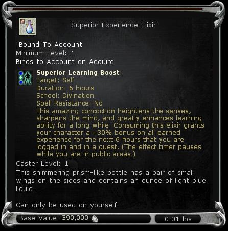 Superior Experience Elixir item DDO