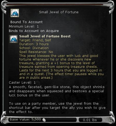 Small Jewel of Fortune item DDO