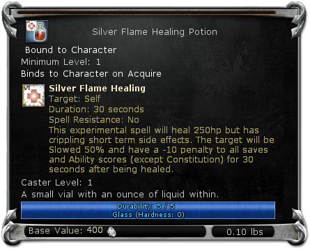 Silver Flame Healing Potion item DDO