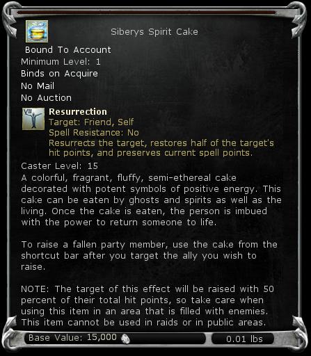 Siberys Spirit Cake item DDO