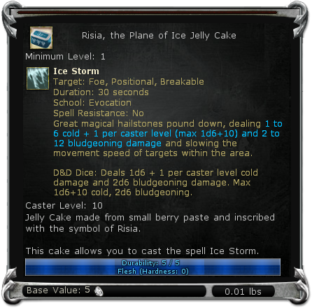 Risia, the Plane of Ice Jelly Cake item DDO