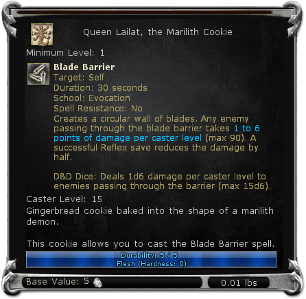 Queen Lailat, the Marilith Cookie item DDO