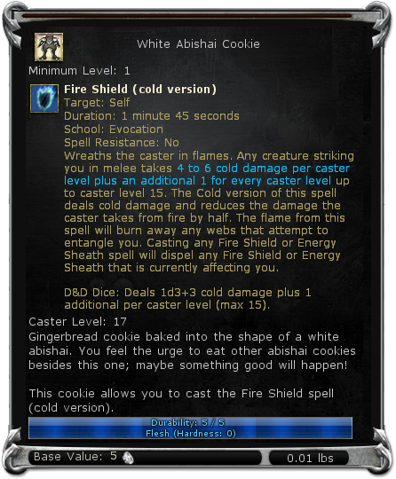White Abishai Cookie item DDO