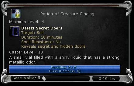 Potion of Treasure-Finding item DDO
