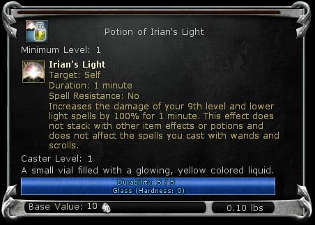 Potion of Irian's Light item DDO
