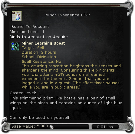 Minor Experience Elixir item DDO