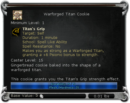 Warforged Titan Cookie item DDO