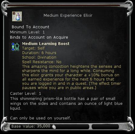 Medium Experience Elixir item DDO