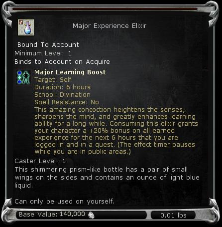 Major Experience Elixir item DDO