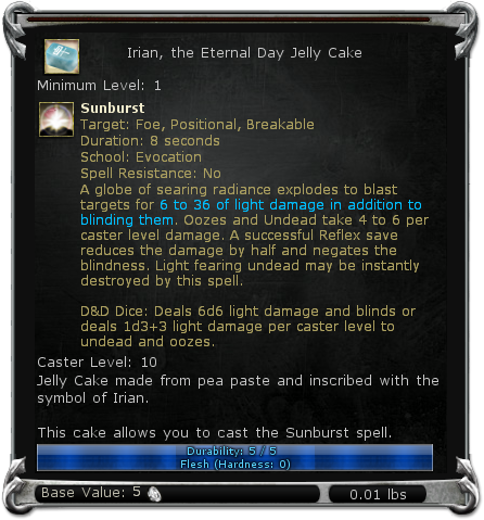 Irian, the Eternal Day Jelly Cake item DDO