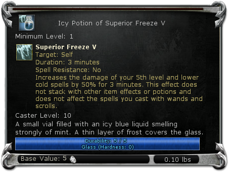Icy Potion of Superior Freeze V item DDO