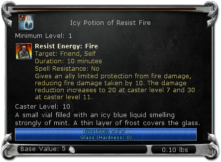 Icy Potion of Resist Fire item DDO