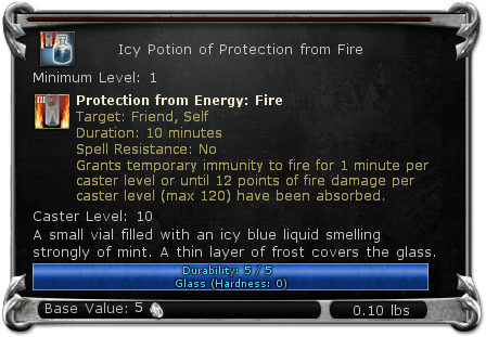 Icy Potion of Protection from Fire item DDO