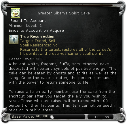 Greater Siberys Spirit Cake item DDO