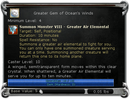 Greater Gem of Ocean's Winds item DDO