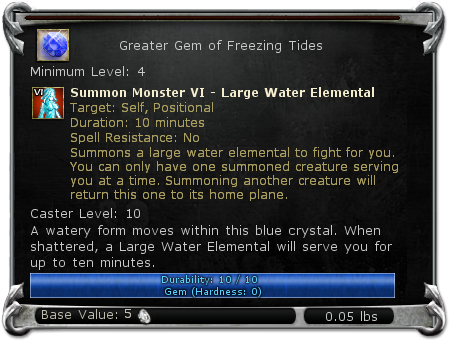 Greater Gem of Freezing Tides item DDO