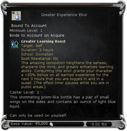Greater Experience Elixir item DDO