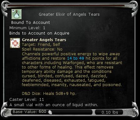 Greater Elixir of Angels Tears item DDO