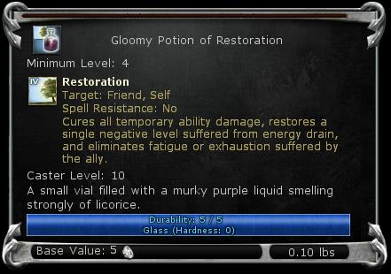 Gloomy Potion of Restoration item DDO
