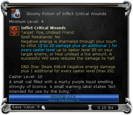 Gloomy Potion of Inflict Critical Wounds item DDO