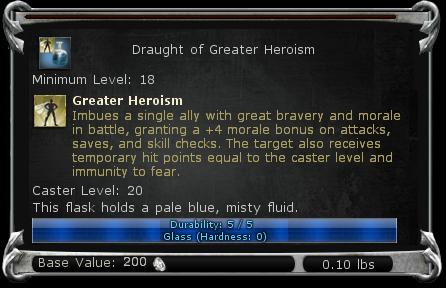 Draught of Greater Heroism item DDO