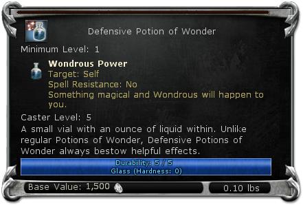 Defensive Potion of Wonder item DDO