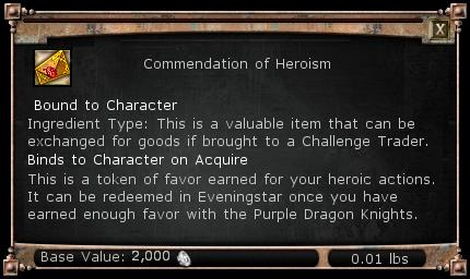 Commendation of Heroism item DDO