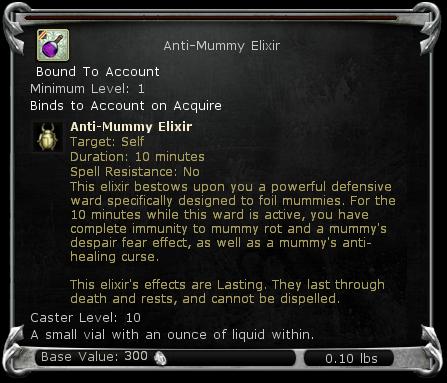 Anti-Mummy Elixir item DDO
